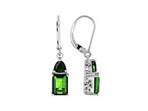 Green Chrome Diopside Rhodium Over Sterling Silver Earrings 3.58ctw