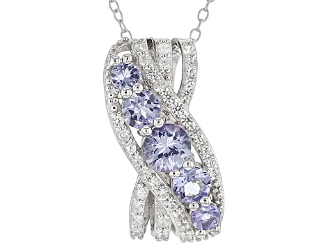 Blue Tanzanite Sterling Silver Pendant With Chain 1.48ctw