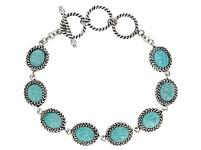 Blue Amazonite Sterling Silver Bracelet