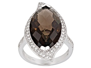 Brown Smoky Quartz Sterling Silver Ring 7.40ctw