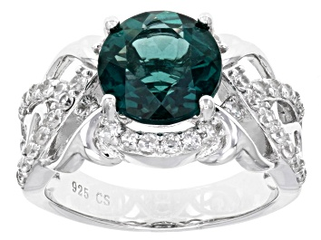 Picture of Teal Fluorite Rhodium Over Sterling Silver Ring 4.05ctw