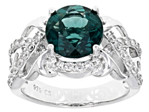 Teal Fluorite Rhodium Over Sterling Silver Ring 4.05ctw