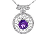 Purple Moroccan Amethyst Silver Solitaire Pendant With Chain 2.96ct