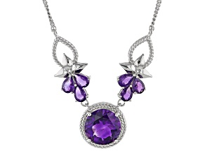 Purple Moroccan Amethyst Silver Pendant With Chain 6.67ctw