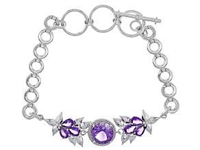 Purple Amethyst Sterling Silver Bracelet 4.68ctw