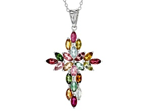 Multi-Tourmaline Sterling Silver Cross Pendant With Chain 2.50ctw
