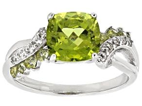 Green Peridot Strerling Silver Ring 2.75ctw
