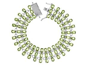 Green Peridot Sterling Silver Multi-Row Bracelet 32.66ctw