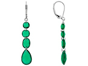 Green Onyx rhodium Over Sterling Silver 4-Stone Earrings