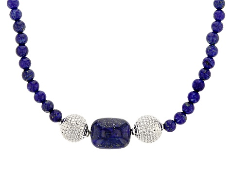 Blue Lapis Lazuli Sterling Silver Bead Necklace