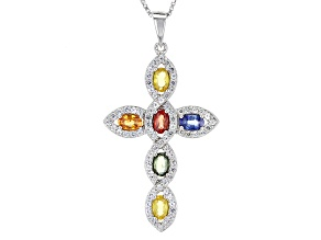 Multi-Sapphire Sterling Silver Cross Pendant With Chain 2.46ctw
