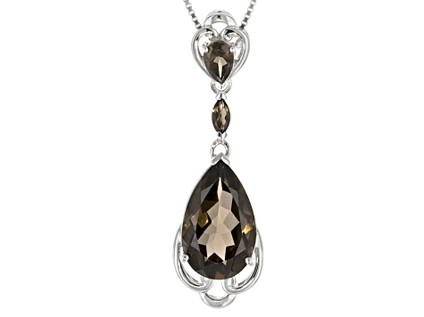 Brown Brazilian Smoky Quartz Silver Pendant With Chain 6.30ctw