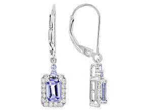 Blue Tanzanite Sterling Silver Dangle Earrings 2.36ctw
