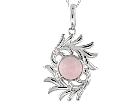Pink Peruvian Opal Sterling Silver Enhancer With Chain