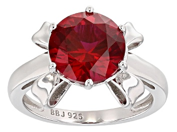 Picture of Red Lab Created Ruby Rhodium Over Sterling Silver Ring 3.60ct