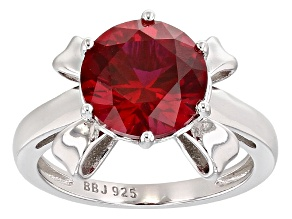 Red Lab Created Ruby Rhodium Over Sterling Silver Ring 3.60ct