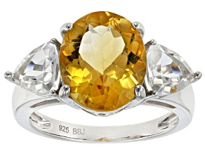 Yellow Citrine Sterling Silver Ring 5.65ctw