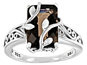 Brown Smoky Quartz Rhodium Over Sterling Silver Ring 3.24ct