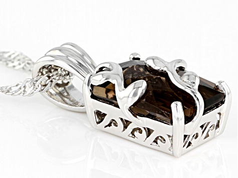 Brown Smoky Quartz Rhodium Over Sterling Silver Pendant With Chain 3.65ct
