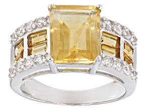 Yellow Citrine Sterling Silver Ring 4.61ctw