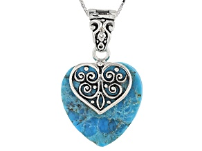 Blue Turquoise Sterling Silver Heart Shape Enhancer With Chain