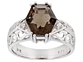 Brown Smoky Quartz Rhodium Over Sterling Silver Ring 2.90ctw