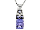 Blue Tanzanite Sterling Silver Pendant With Chain 1.27ctw