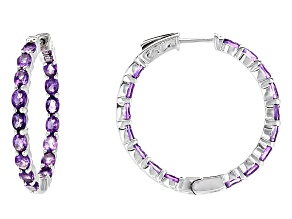 Purple African Amethyst Silver inside/Outside Hoop Earrings 4.30ctw