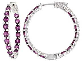 Raspberry Color Rhodolite Rhodium Over Sterling Silver inside/Outside Hoop Earrings 6.25ctw