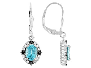 Blue Paraiba Color Apatite Sterling Silver Dangle Earrings 1.59ctw