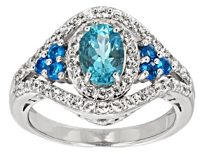Blue Paraiba Color Apatite Sterling Silver Ring 1.32ctw