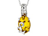 Orange Polish Amber Solitaire Sterling Silver Pendant With Chain