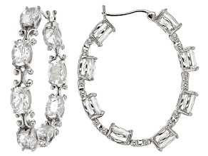 White Brazilian Goshenite Silver inside/Outside Hoop Earrings 8.96ctw