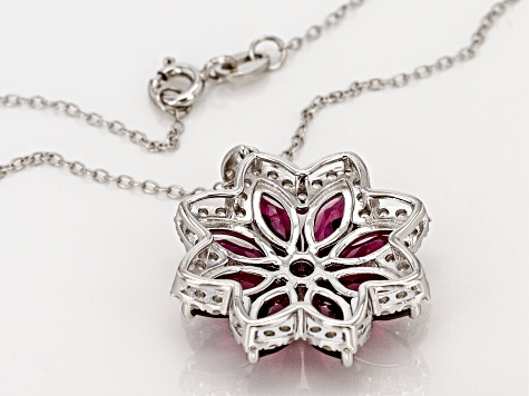 Raspberry Color Rhodolite Sterling Silver Pendant With Chain 5.61ctw