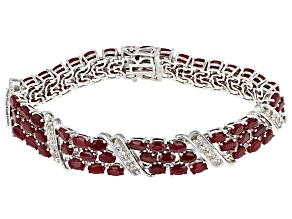 Red indian Ruby Sterling Silver Multi-Strand Bracelet 30.39ctw