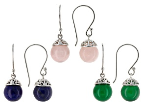 Multi-Gem Sterling Silver Earrings Set Of 3 Pairs
