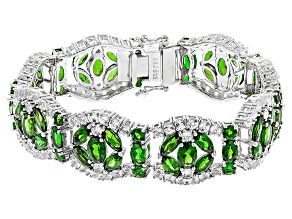 Green Russian Chrome Diopside Rhodium Over Sterling Silver Bracelet 35.80ctw