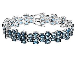 London Blue Topaz Sterling Silver Bracelet 40.80ctw