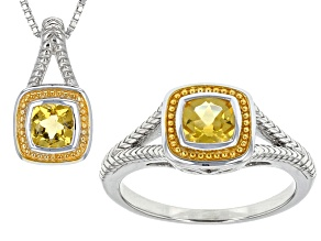 Yellow Heliodor Two-Tone Silver Pendant With Chain And Ring Set .99ctw