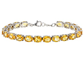 Yellow Citrine Rhodium Over Silver Tennis Bracelet 23.27ctw
