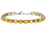 Yellow Citrine Rhodium Over Silver Tennis Bracelet 20.00ctw