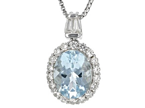 Blue Aquamarine Sterling Silver Pendant With Chain1.74ctw