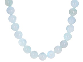 Blue Brazilian Aquamarine Bead Rhodium Over Sterling Silver Necklace 500.00ctw