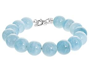 Blue Brazilian Aquamarine Bead Sterling Silver Bracelet 190.00ctw