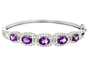 Purple Amethyst Sterling Silver Bangle Bracelet 17.95ctw