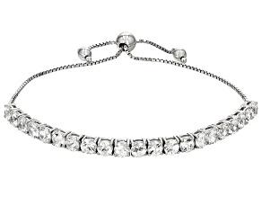 White Zircon Sterling Silver Bolo Bracelet 7.35ctw