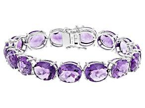 Purple African Amethyst Sterling Silver Bracelet 53.90ctw