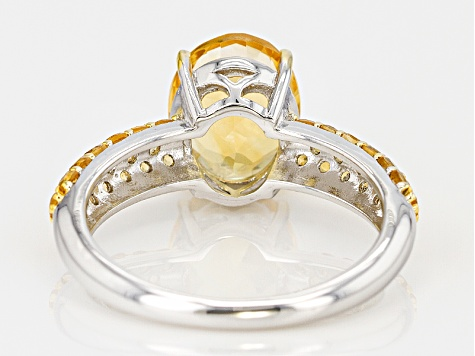 Yellow Brazilian Citrine Sterling Silver Ring 2.90ctw