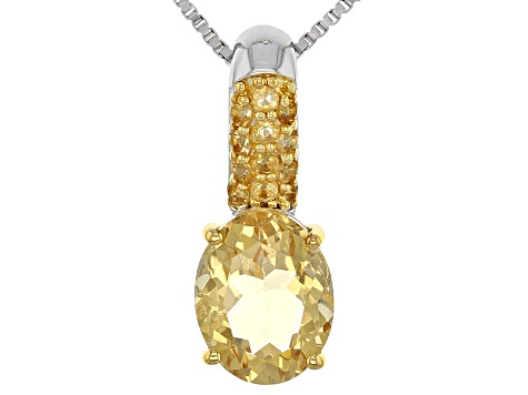 Yellow Brazilian Citrine Sterling Silver Pendant With Chain 2.56ctw