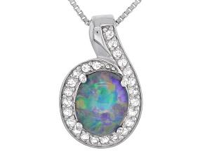 Australian Opal Triplet Silver Pendant With Chain .38ctw
